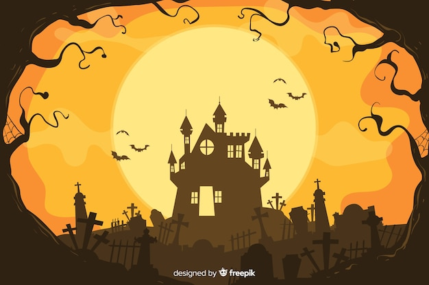 Decorative halloween background hand drawn style