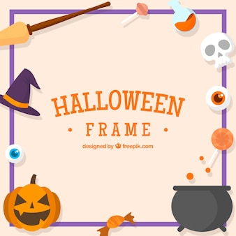 Decorative halloween frame with elements in flat design