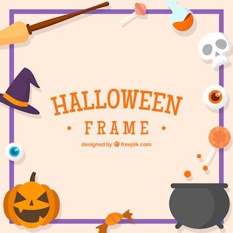 Декоративная рамка хэллоуина с элементами в плоском дизайне