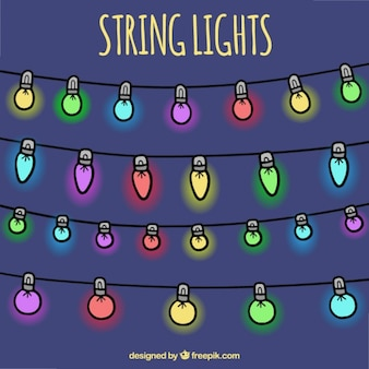 Decorative hand drawn colored string lights