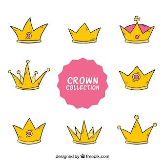 Decorative hand-drawn crown collection