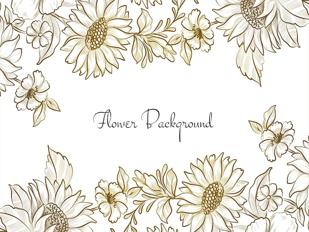 Decorative hand drawn flower design elegant background