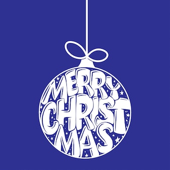 Decorative hand drawn lettering in christmas ball. handwritten phrase merry christmas