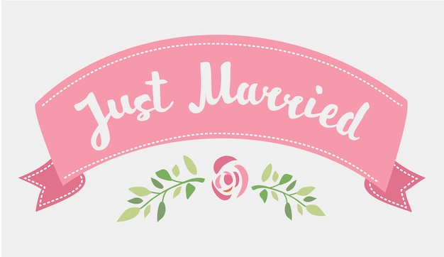 Decorative hand drawn lettering of text just married and pink ribbon isolated on white background