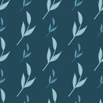 装飾的な手描きの北欧の葉の小枝のシームレス パターン