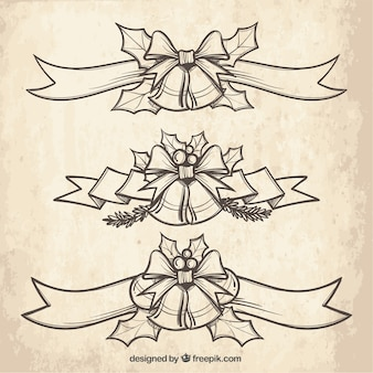 Nastri decorativi disegnati a mano con campane