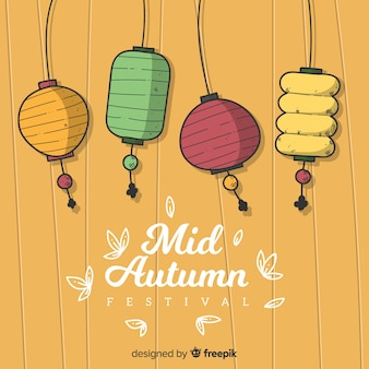 Decorative hand drawn style background for mid autumn festival
