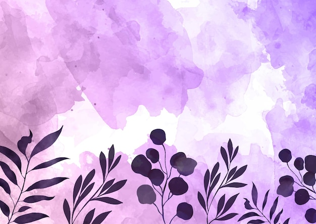 Decorative hand painted watercolour background with floral design