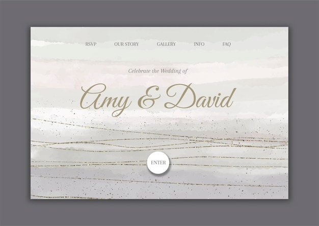 Decorative hand painted wedding landing page with glitter elements