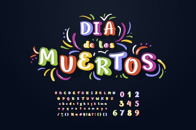 Decorative handcrafted font of dia de los muertos