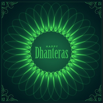 Decorative happy dhanteras festival wishes shiny card design