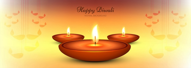 Decorative happy diwali diya banner template