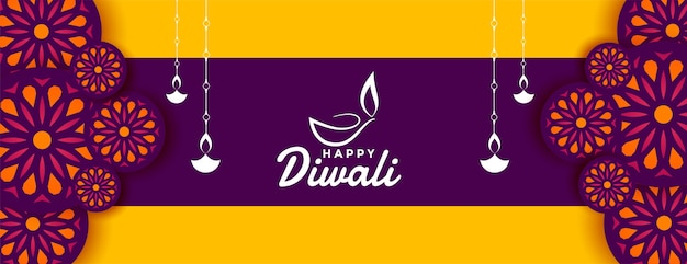 Decorative happy diwali festival banner wishes design