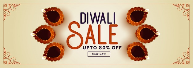 Decorative happy diwali sale banner