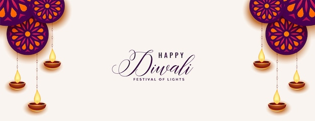 Decorative happy diwali white banner with diya design