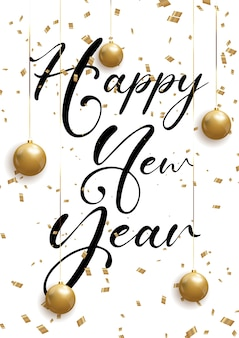 Decorative happy new year background with confetti and hanging baubles