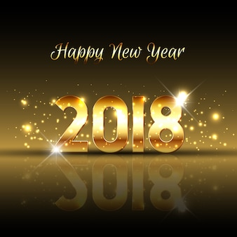 Decorative Happy New Year background with gold text