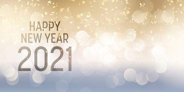 Decorative happy new year banner with bokeh lights and confetti design