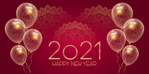 Banner decorativo felice anno nuovo con mandala e palloncini scintillanti