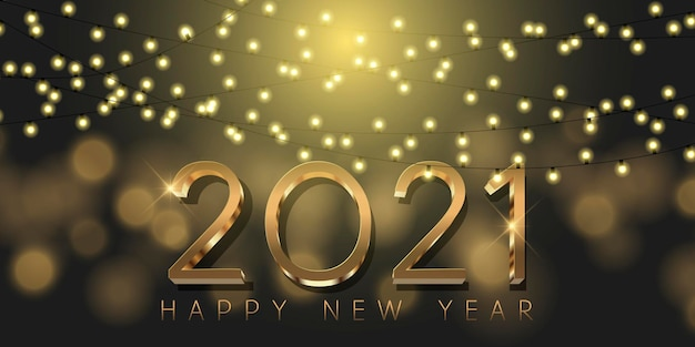 Banner decorativo di felice anno nuovo con lettere in oro metallizzato e luci scintillanti