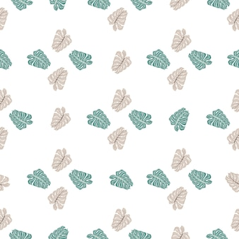 Декоративные гавайи бесшовные модели с монстера каракули печати. изолированный орнамент. белый фон.