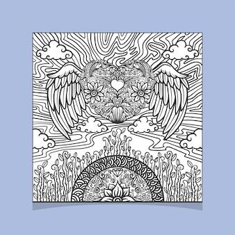 装飾的なハートと翼の形をした曼荼羅のデザイン