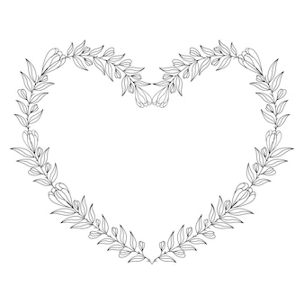 Decorative heart illustration with floral heart frame