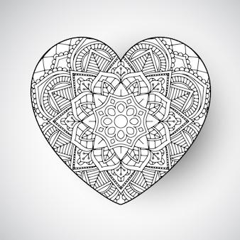 Design mandala a forma di cuore decorativo