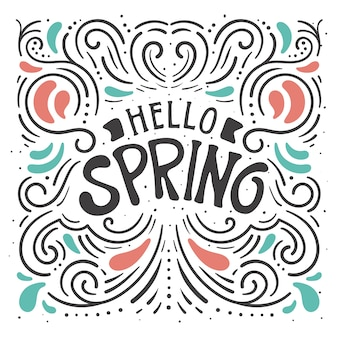 Decorative hello spring lettering background
