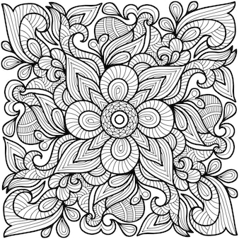 Decorative henna mandala  for adults and children colouring book page