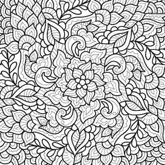 本のページを着色するための装飾的なヘナ曼荼羅のデザイン