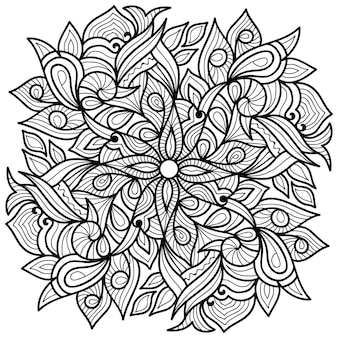 Decorative henna style mandala  colouring book page for adults and children