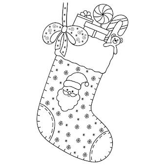 新年とクリスマスの装飾のための装飾的な休日の要素。塗り絵の本のページ。