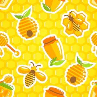 Decorative honey food jar hive bumble bee and dipper with honeycomb seamless pattern vector illustration