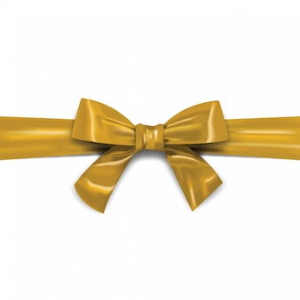 Decorative horizontal gold ribbon with bow