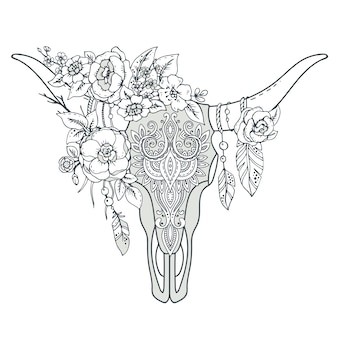 Decorative indian bull skull with ethnic ornament