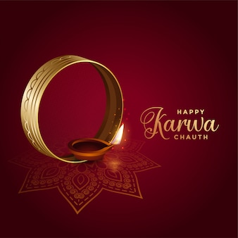 Decorative indian festival of karwa chauth