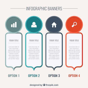 Decorative infographic banners in flat design
