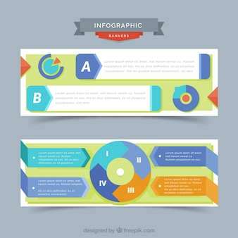 Decorative infographic banners with flat elements