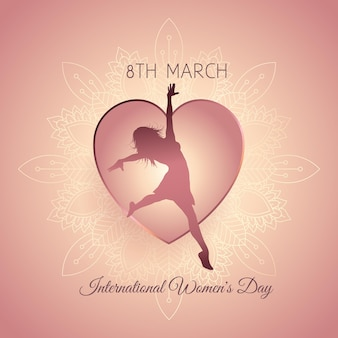 Decorative international womens day with female silhouette in a heart
