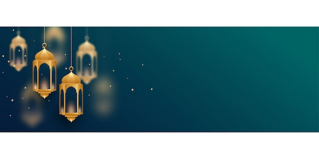 Decorative islamic lamps banner with text space