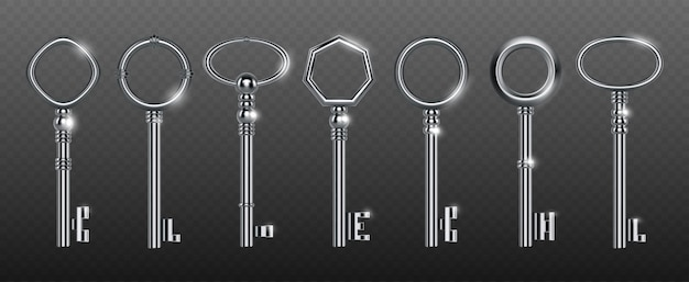 Decorative keys made of silver or steel Free Vector