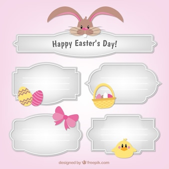 Decorative labels with easter items