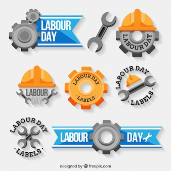 Decorative labels with great designs for labour day