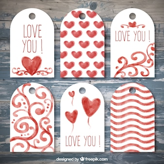 Decorative labels with hearts
