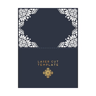 Векторные свадебные карты лазерная вырез шаблон винтаж декоративные элементы