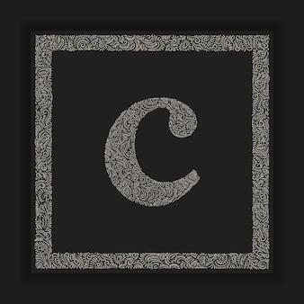 프레임 배경 장식 문자 c 모노그램 로고 알파벳 벡터