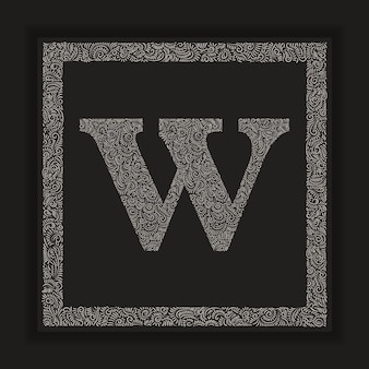 Decorative letter w monogram logo alphabet vector