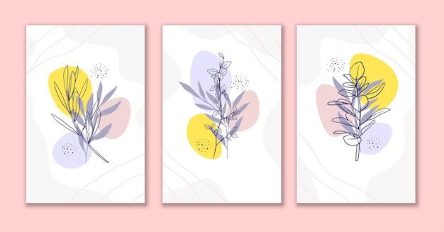 装飾線の花と葉のアートポスターセットb