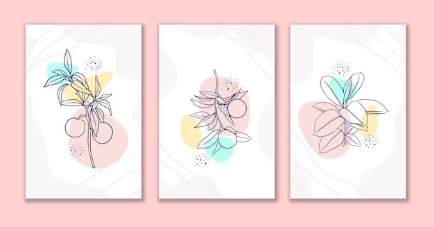 装飾的なラインの花と葉のアートポスターセット